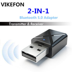 VIKEFON Bluetooth 5.0 Audio Receiver Transmitter Mini 3.5mm AUX Stereo Bluetooth Transmitter For TV PC Wireless Adapter For Car