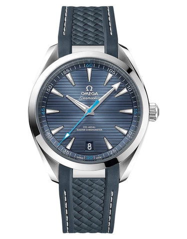 Omega Seamaster Aqua Terra 150m Master Co-Axial Blue Dial Rubber Strap Men's Watch