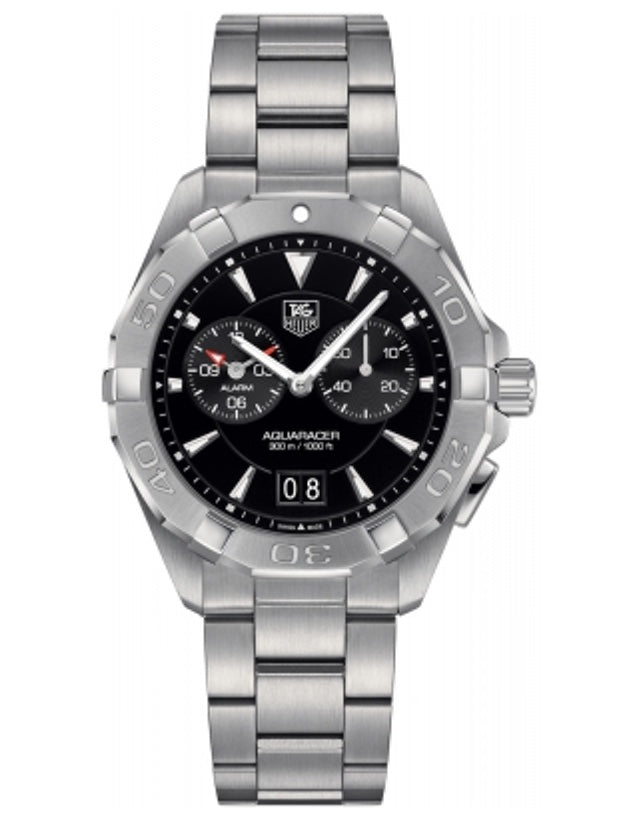 Tag Heuer Aquaracer Alarm 300M 40.5Mm Black Dial Steel Men's Watch
