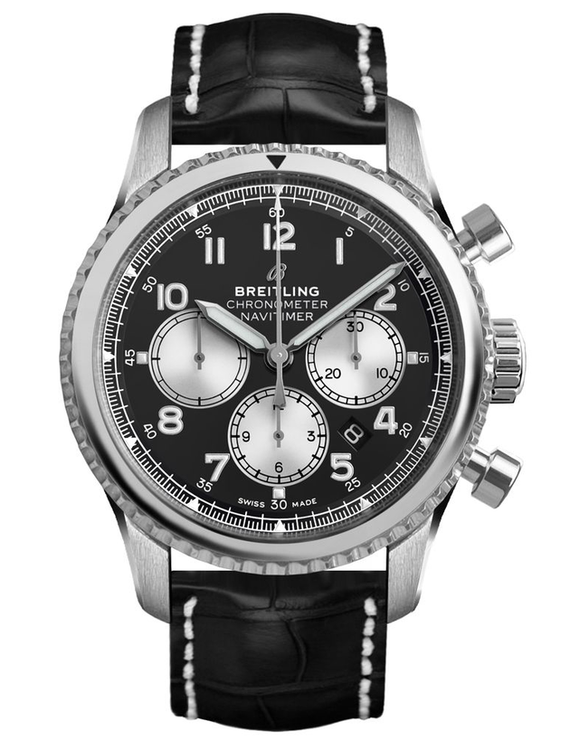 Breitling Navitimer 8 Chronograph 43 Black Dial Crocodile Leather Strap Men's Watch