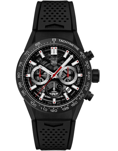 Tag Heuer Carrera Calibre Heuer 02 Skeleton Dial Black Rubber Strap Men's Watch