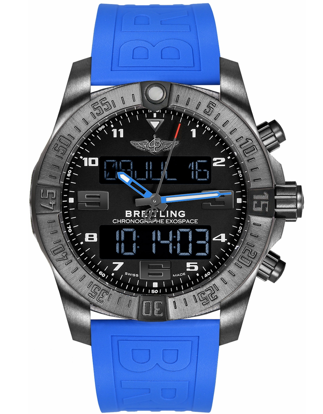 BREITLING PROFESSIONAL EXOSPACE B55 CONNECTED BLACK TITANIUM BLACK DIAL BLUE RUBBER STRAP MEN'S WATCH