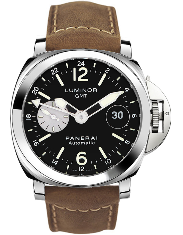 PANERAI LUMINOR GMT AUTOMATIC 44MM BLACK DIAL MEN'S WATCH