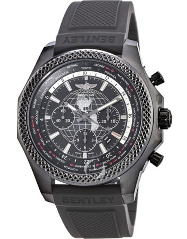 BREITLING BENTLEY B05 UNITIME LIMITED EDITION BLACK STEEL ROYAL EBONY RUBBER STRAP MEN'S WATCH