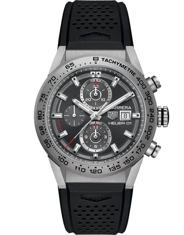 TAG HEUER CARRERA CALIBRE HEUER 01 AUTOMATIC CHRONOGRAPH TITANIUM GREY DIAL RUBBER STRAP MEN'S WATCH