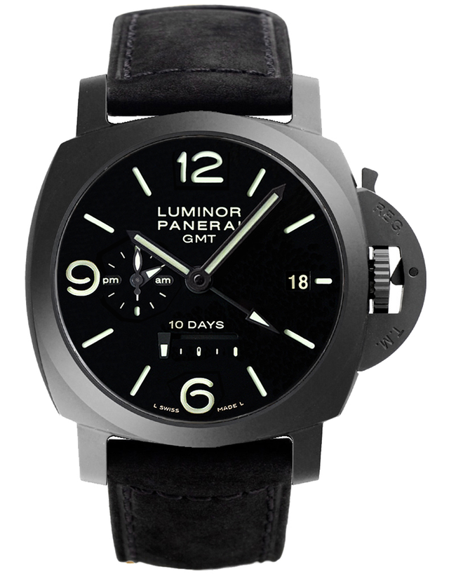 Panerai Luminor 1950 10 Days Ceramica Black Dial Black Leather Men's Watch