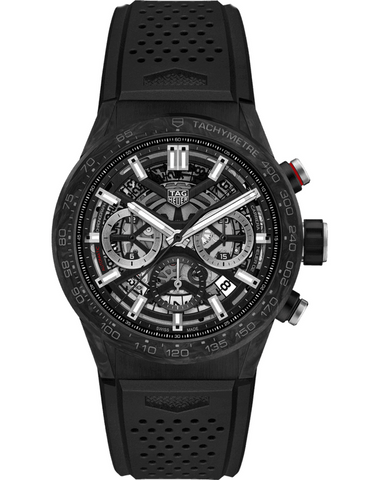 Tag Heuer Carrera Calibre Heuer 02 Automatic Chronograph Skeleton Dial Black Rubber Strap Men's Watch