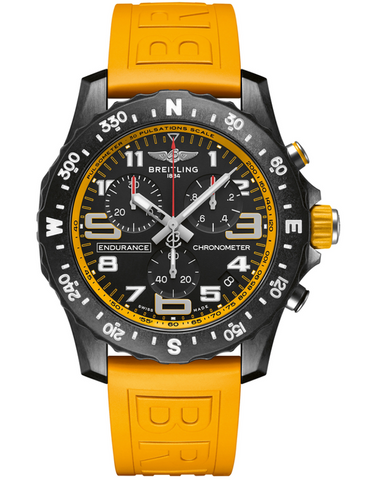 Breitling Professional Endurance Pro Yellow Rubber Strap Mens Watch