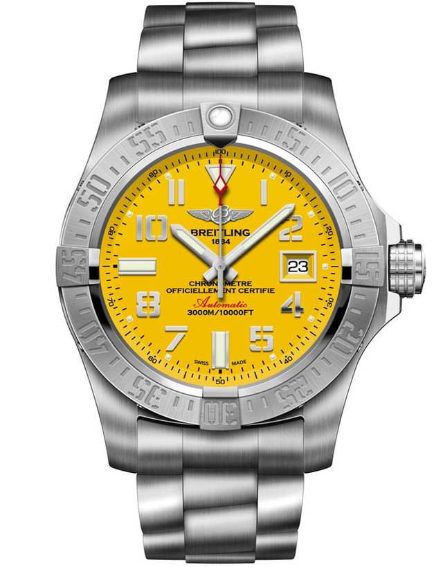 BREITLING AVENGER AVENGER II SEAWOLF YELLOW DIAL MEN'S WATCH