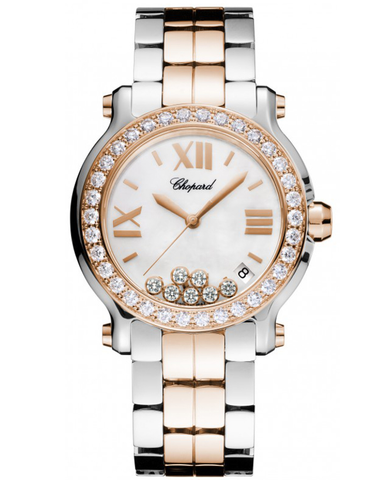 CHOPARD HAPPY SPORT MEDIUM 36MM TWO TONE 18K ROSE GOLD, STAINLESS STEEL AND DIAMONDS WOMEN'S WATCH
