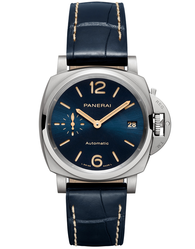 Panerai Luminor Due Blue Sun Brushed Titanium Automatic Men's Watch