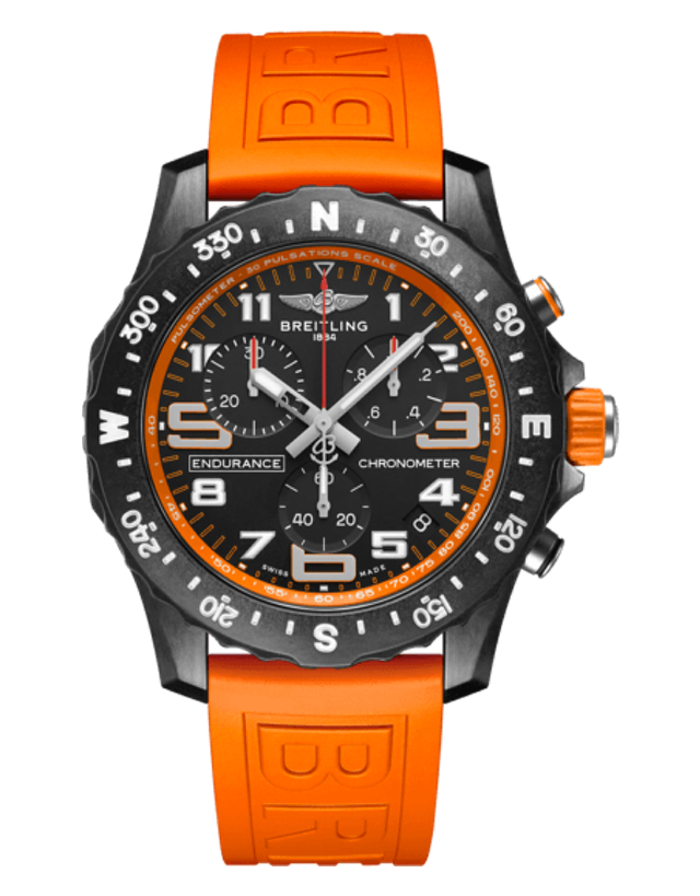 Breitling Professional Endurance Pro Orange Rubber Strap Men's Watch
