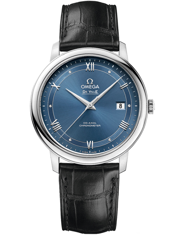 Omega De Ville Prestige Co-Axial 39.5mm Blue Dial Leather Strap Men's Watch