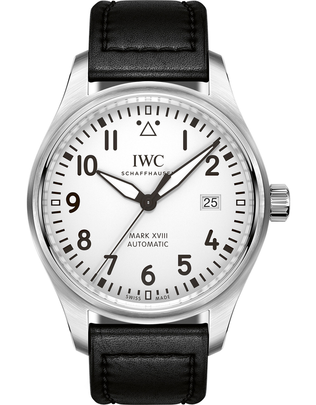 IWC PILOT'S MARK XVIII WHITE DIAL LEATHER STRAP MEN'S WATCH