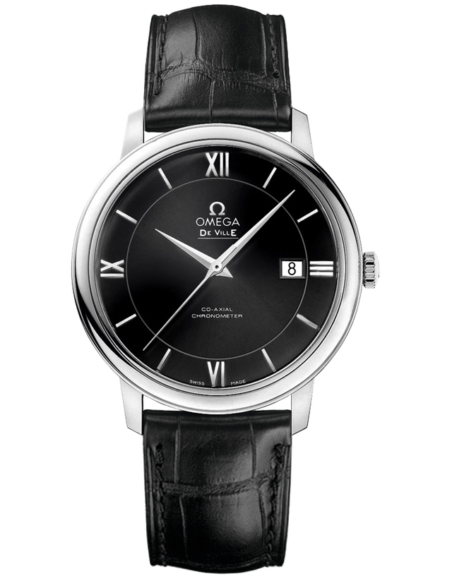 OMEGA DE VILLE PRESTIGE CO-AXIAL 39.5MM BLACK LEATHER STRAP MEN'S WATCH