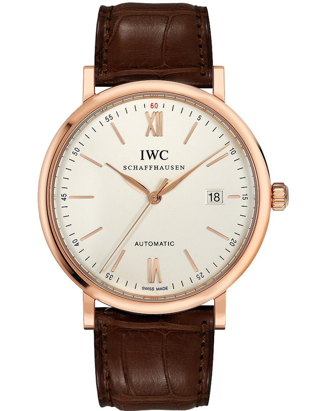 IWC Portofino Automatic 18kt Rose Gold Silver Dial Leather Strap Men's Watch