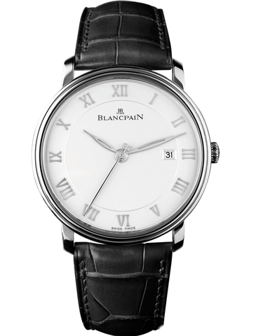 BLANCPAIN VILLERET AUTOMATIC ULTRA SLIM SILVER DIAL LEATHER STRAP MEN'S WATCH