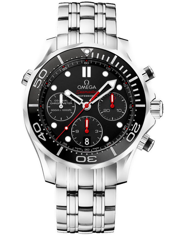 Seamaster Diver 300 M Co-Axial Chronograph Black Dial Steel Men's Watch