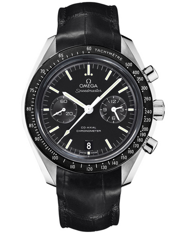 OMEGA SPEEDMASTER MOONWATCH CO-AXIAL CHRONOGRAPH BLACK DIAL BLACK LEATHER MEN'S WATCH