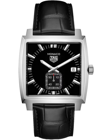 Tag Heuer Monaco Quartz Black Dial Black Alligator Leather Men's Watch