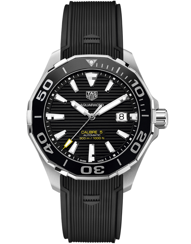 Tag Heuer Aquaracer 300M Automatic Black Dial Rubber Strap Men's Watch
