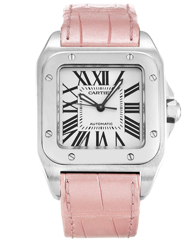 CARTIER SANTOS 100 AUTOMATIC WHITE DIAL PINK STRAP UNISEX WATCH
