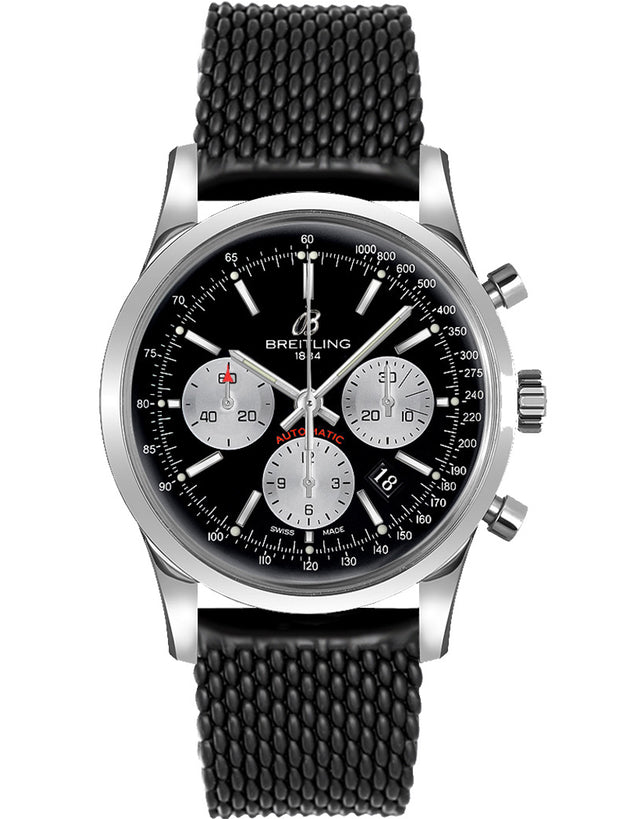 Transocean Chronograph Black Dial Black Rubber Deployment Strap Men's Watch