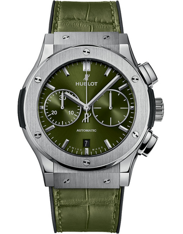 Hublot Classic Fusion Chronograph Green Dial Green Leather Strap Men's Watch