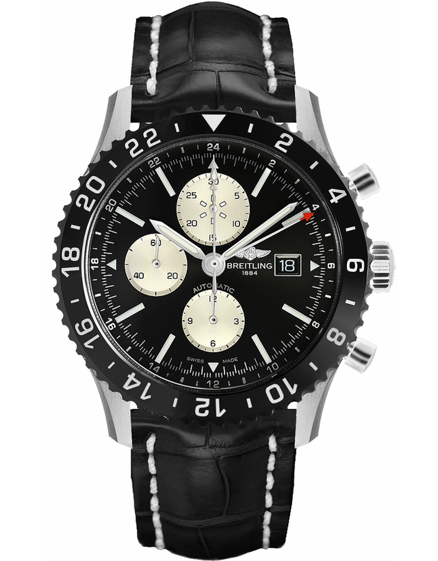 Breitling Chronoliner Ceramic Pilots Chronograph GMT Crocodile Men's Watch
