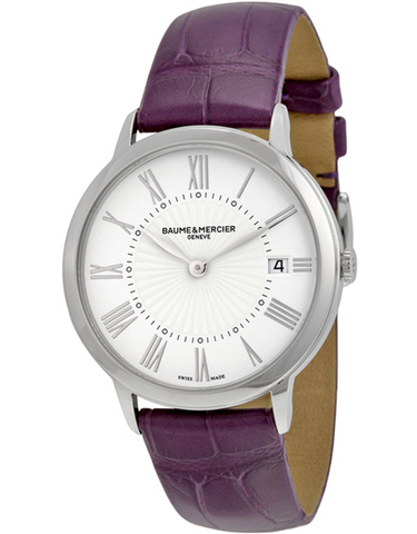 Baume & Mercier Classima Quartz Silver Dial Leather Strap Women's Watch