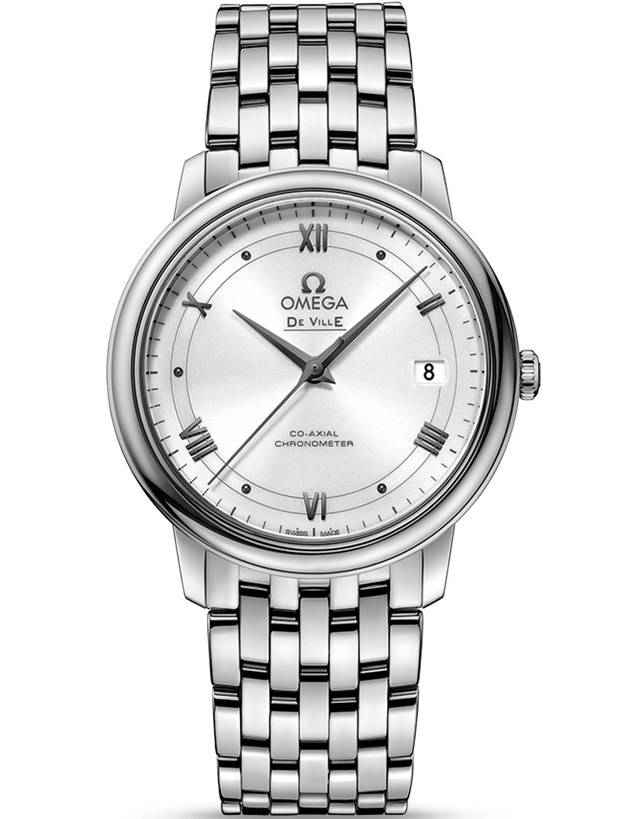 Omega De Ville Prestige Co-Axial 36.8Mm Silver Roman Railroad Dial Men's Watch