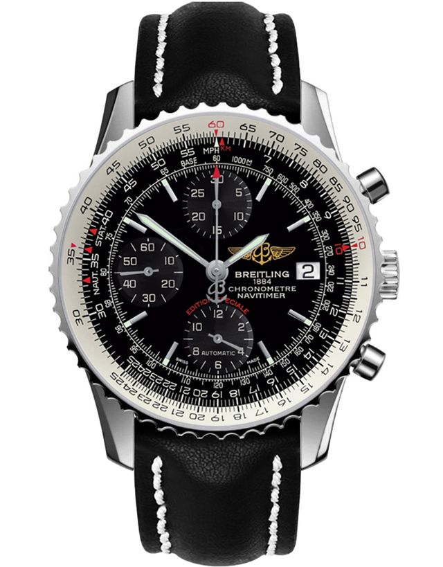 BREITLING NAVITIMER HERITAGE 42MM SPECIAL EDITION BLACK CALF LEATHER TANG STRAP MEN'S WATCH