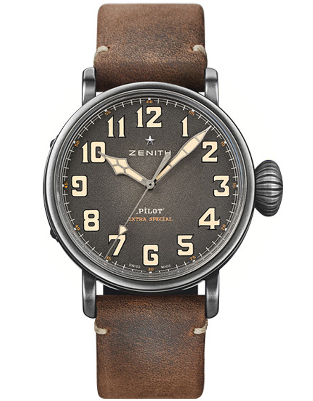Zenith Pilot Montre D'aeronef Type 20 Extra Special Grey Dial Brown Leather Men's Watch