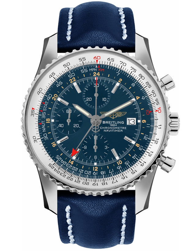 BREITLING NAVITIMER WORLD BLUE GMT CHRONOGRAPH CALF LEATHER STRAP MEN'S WATCH