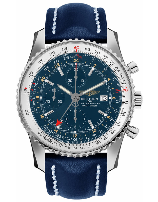 BREITLING NAVITIMER WORLD GMT BLUE CHRONOGRAPH MEN'S WATCH
