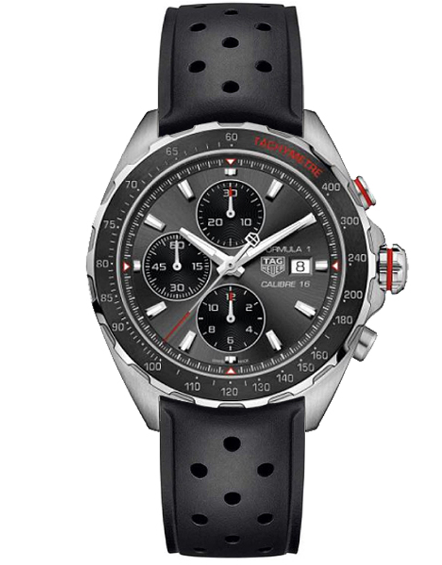 TAG HEUER FORMULA 1 AUTOMATIC CHRONOGRAPH GREY DIAL BLACK RUBBER MEN'S WATCH
