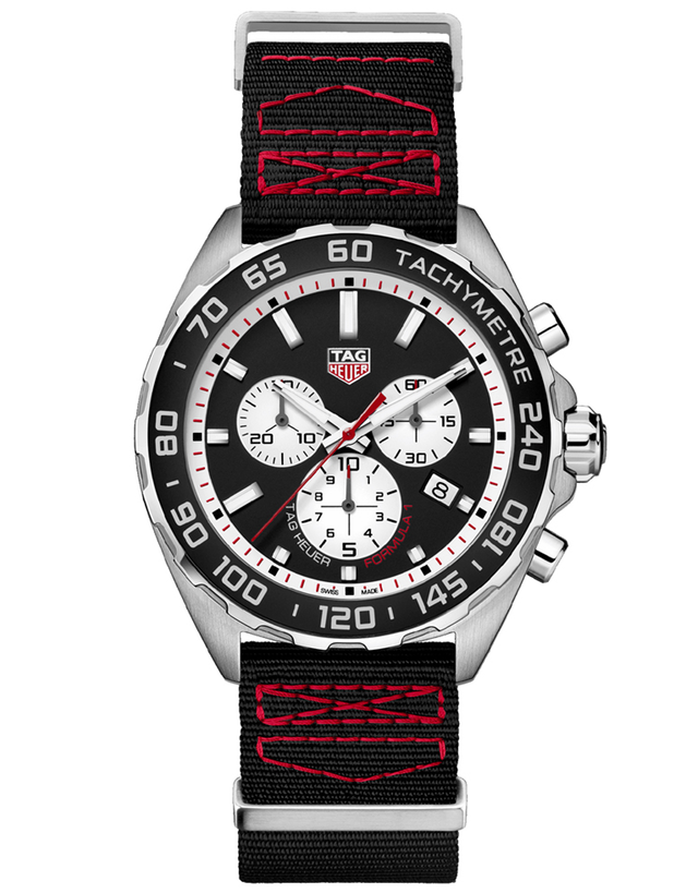 Tag Heuer Formula 1 Quartz Chronograph Black Dial Black And Red Strap Men's Watch