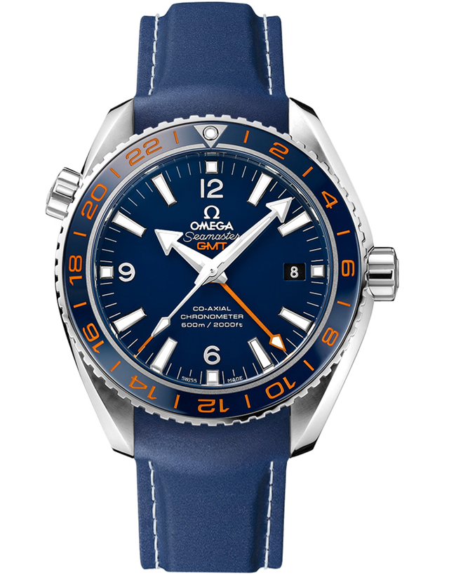 OMEGA SEAMASTER PLANET OCEAN 600M GMT GOOD PLANET FOUNDATION BLUE EDITION RUBBER STRAP MEN'S WATCH