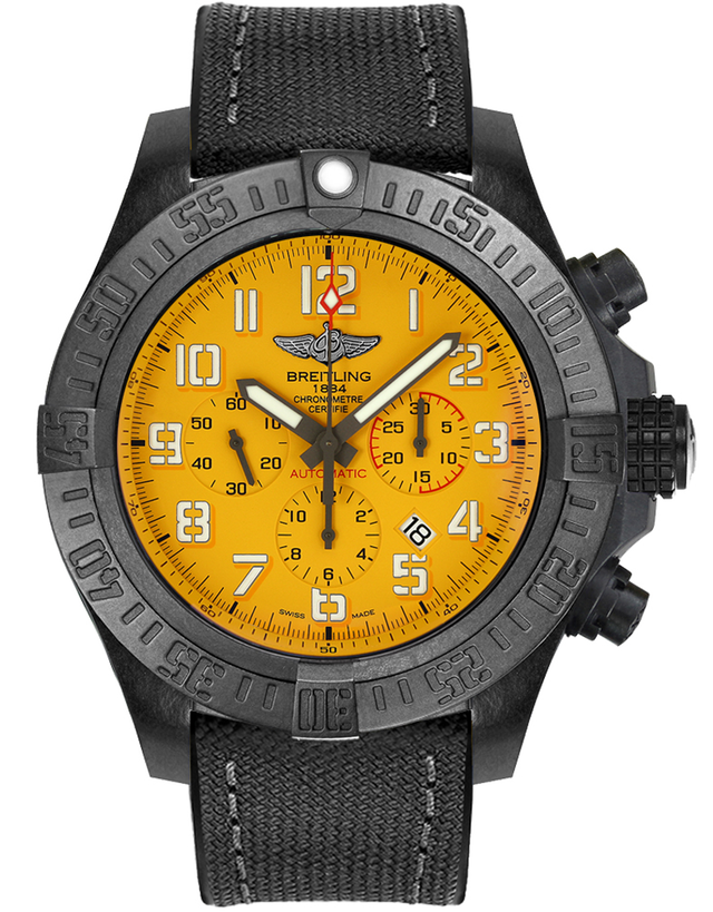 Breitling Avenger Hurricane 12H Yellow Dial Breitlight Case Men's Watch
