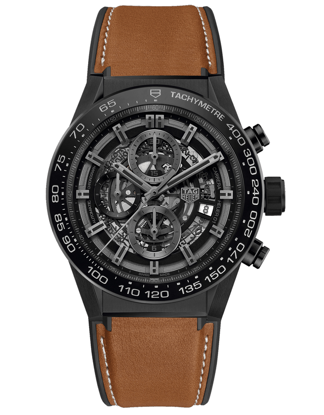 Tag Heuer Carrera Calibre Heuer 01 Ceramic 45mm Skeleton Chronograph Dial Brown Leather Men's Watch