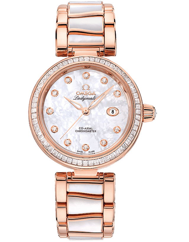 Omega De Ville Ladymatic 18Kt Rose Gold Diamond Watch