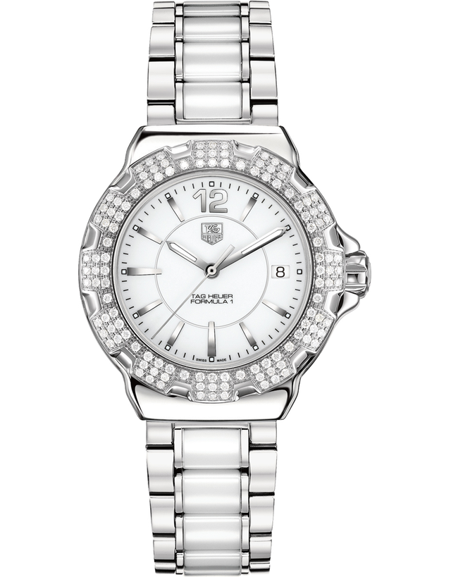 TAG HEUER FORMULA 1 QUARTZ DIAMOND WHITE CERAMIC & STEEL WOMEN'S WATCH