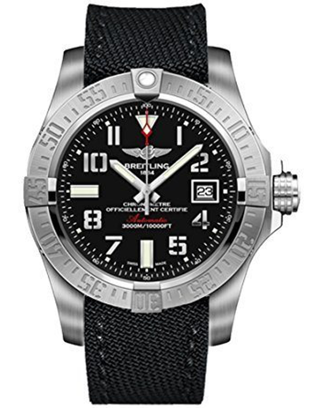BREITLING AVENGER AVENGER II SEAWOLF BLACK DIAL ANTHRACITE CANVAS STRAP MEN'S WATCH