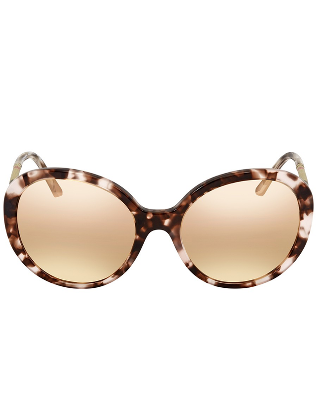 BURBERRY DARK BROWN MIRROR ROSE GOLD ROUND LADIES SUNGLASSES