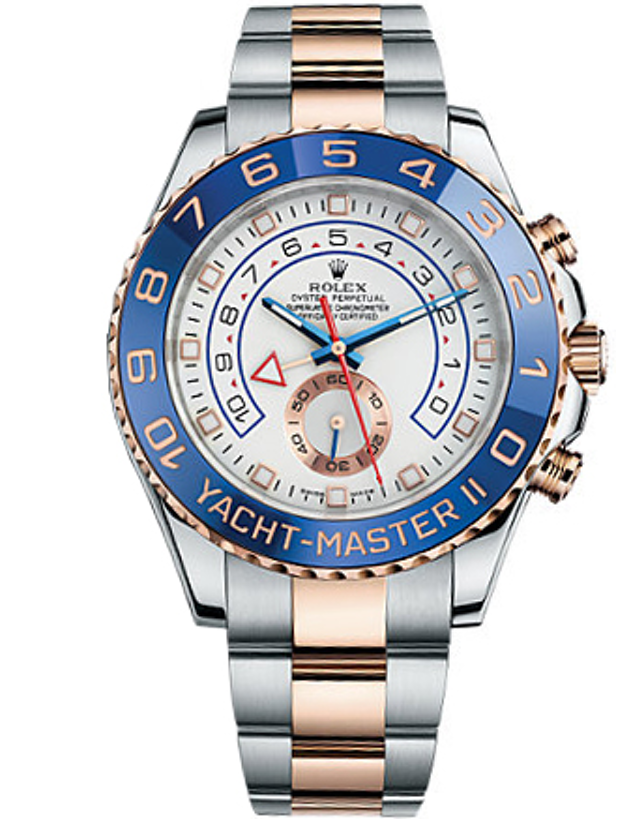 ROLEX YACHT-MASTER WHITE DIAL STAINLESS STEEL AND 18K EVEROSE GOLD MEN'S WATCH