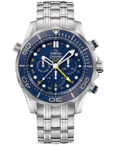 Omega Seamaster Diver 300M Co-Axial Chronograph Gmt Blue Dial Steel Men's Watch