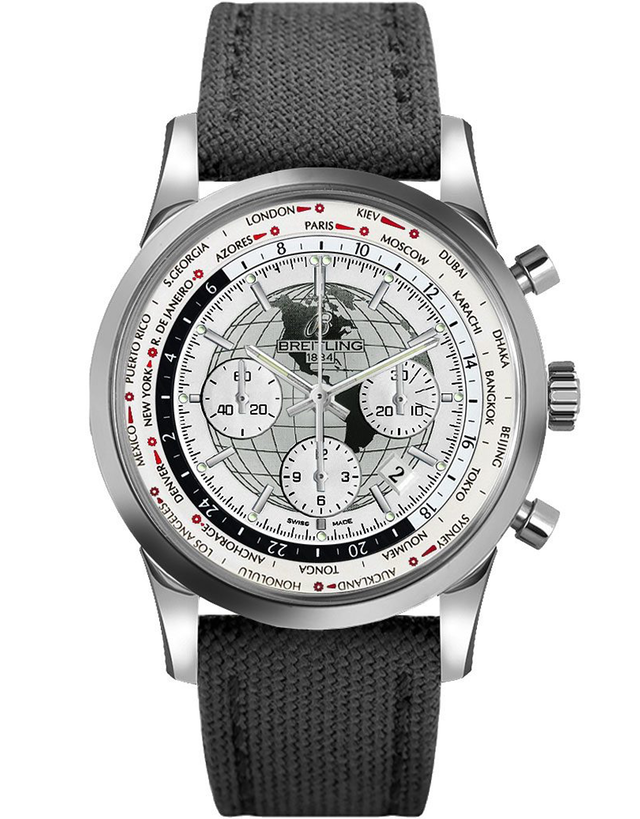 Breitling Transocean Chronograph Unitime White Dial Anthracite Fabric Men's Watch