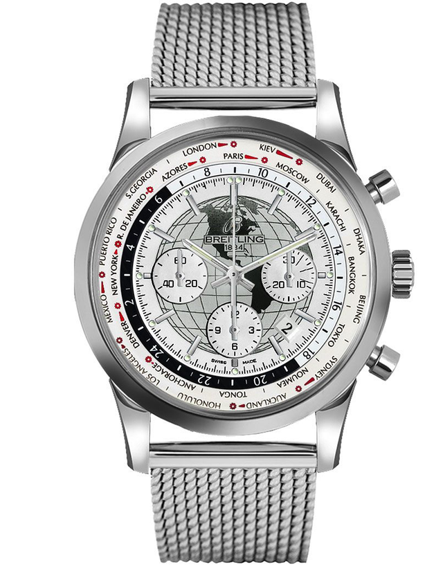 BREITLING TRANSOCEAN CHRONOGRAPH UNITIME WHITE DIAL STAINLESS STEEL MEN'S WATCH