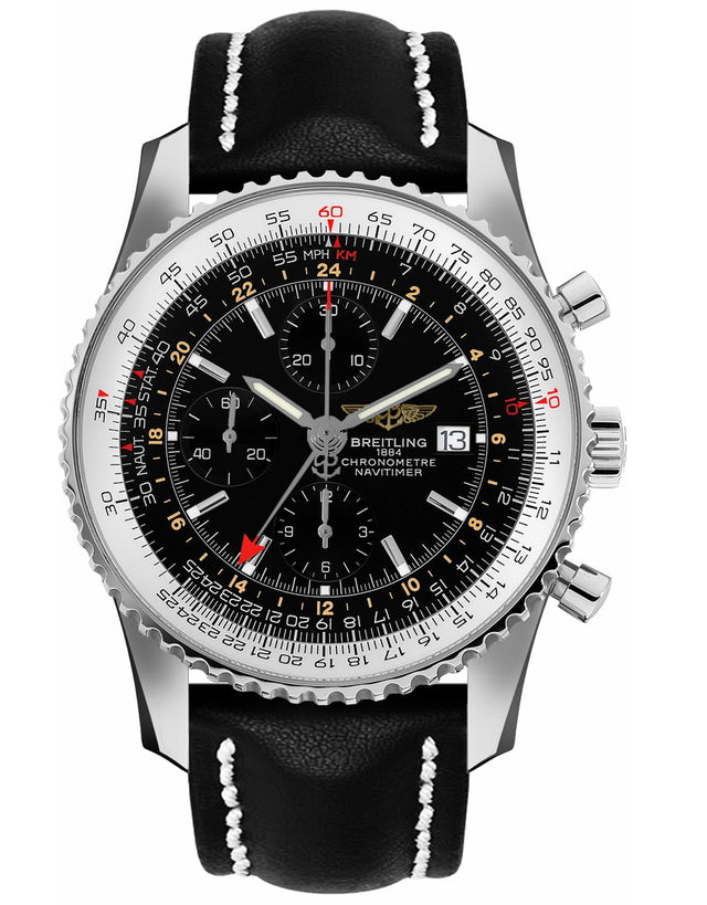 BREITLING NAVITIMER WORLD GMT CHRONOGRAPH BLACK DIAL LEATHER STRAP MEN'S WATCH