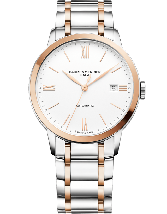 BAUME & MERCIER CLASSIMA AUTOMATIC STEEL AND ROSE GOLD MEN'S WATCH